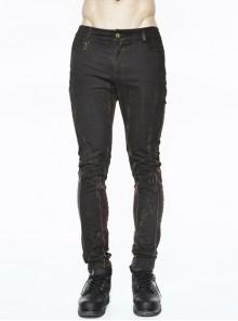 Black Right Side Detachable Bag Distressed Punk Pants