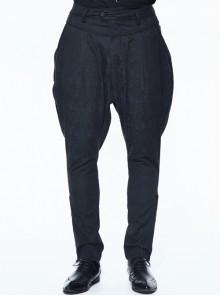 Small Jacquard Pattern Ribbons Snap Fastener Black Oversize Gothic Pants