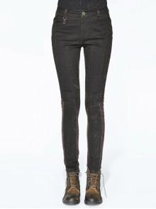 Right Side Brown Detachable Bag Distressed Black Punk Pants