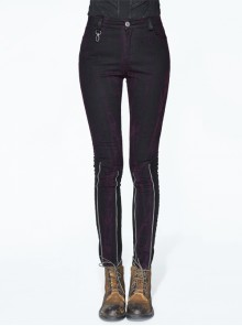 Right Side Detachable Bag Distressed Black Punk Pants