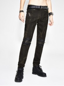 Ax-Winged Embroidered Irregular Pattern Zipper Brown Punk Pants
