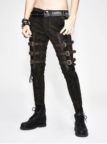 Multi-Loops Embroider Leather Hasp Side Lace-Up Brown Punk Pants