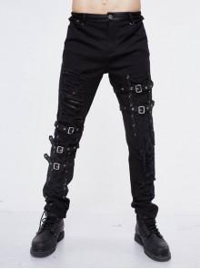 Black Twill Asymmetric Broken Holes Leather Hasp Bandage Punk Rock Pants