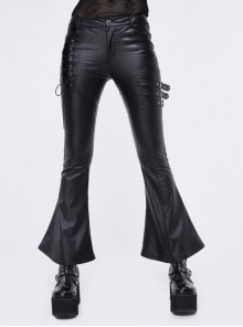 Side Lace-Up Leather Hasp Leather Black Tight Punk Flared Pants