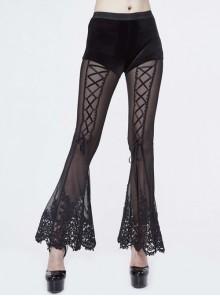 Stretch Mesh Lace-Up Lace Bottom Black Gothic Horn Leggings Pants