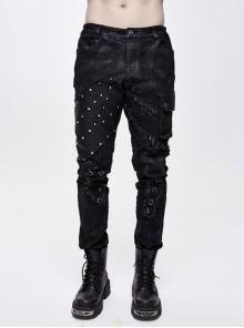 Black Twill Rivet Mesh Irregular Patchwork Side Pockets Distressed Punk Pants