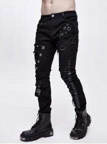 Asymmetric Torn Rivet Leather Hasp Lace-Up Pockets Black Twill Punk Pants