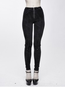 Black Dark Pattern Splicing Leather Armor Lace-Up Pockets Punk Stretchy Pants