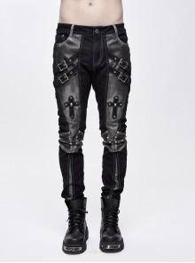 Twill Gray Contrast Color Hand Rubbing Leather Hasp Rivet Cross Black Punk Pants