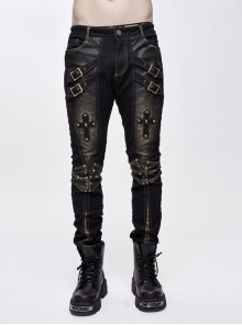 Twill Brown Contrast Color Hand Rubbing Leather Hasp Rivet Cross Black Punk Pants