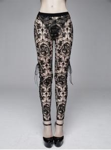 Brown Flocking Printing Mesh Side Lace-Up Leggings Pants