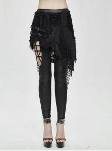 Fake Two Pieces Ripped Lace Skirts Leather Hasp Black Punk Leggings Pants
