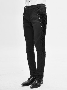 Side Buttons Side Flocking Lace-Up Rivet Black Twill Gothic Pants
