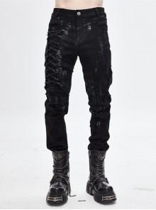 Black Twill Lace-Up Selvage Mecha Punk Men Pants