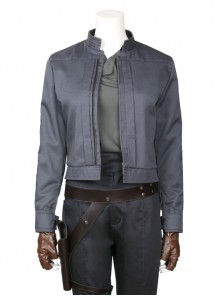 Rogue One A Star Wars Story Jyn Erso Halloween Cosplay Costume Gray Short Jacket