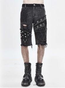 Broken Holes Rivet Mesh Zipper Rough Selvedge Gray Punk Middle Pants