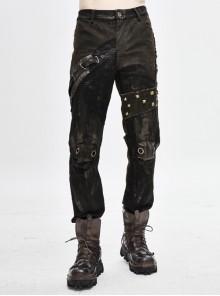 Splice Mesh Leather Bandage Rivet Broken Holes  Brown Punk Pants