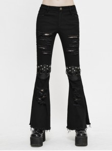 Knee Nailed Tied Rope Broken Holes Rough Selvedge Black Punk Bell-Bottomed Pants