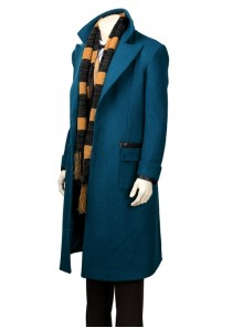 Fantastic Beasts And Where To Find Them Newt Scamander Halloween Cosplay Costume Blue Woolen Coat