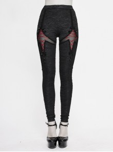 Red Lace-Up Rivet Patterned Knitted Black Gothic Leggings Pants