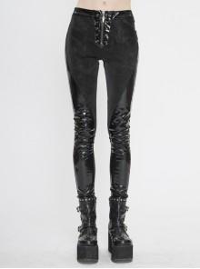 Irregular Dark-Grain Spliced Bright Patent Leather Bucket Studs Black Punk Leggings Pants