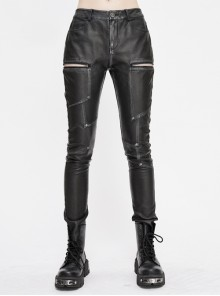 Block-Shaped Patchwork Cross-Shaped Nail Hand-Rubbed Gray Punk Leather Pants