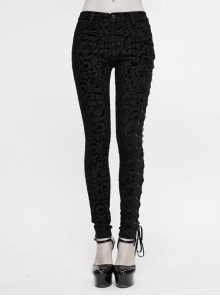 Flocking Patterned Side Lace Asymmetrical Lace-Up Black Gothic Pants