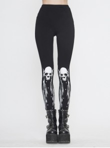 Skull-Wing Printed Black Knitted Punk Leggings Pants