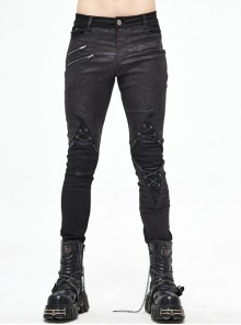 Black Twill Fake Two-Piece Knee Asymmetrical Lace-Up Punk Pants
