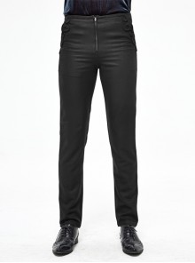 Twill Suit Material Side Pocket Floral-Shaped Webbing Black Gothic Pants