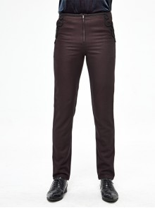 Twill Suit Material Side Pocket Floral-Shaped Webbing Brown Gothic Pants