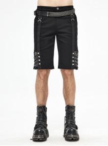 Black Twill Splice Mesh Lace-Up D-Shaped Buckle Rivet Punk Shorts
