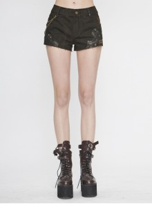 Tie-Dye Woven Splice Wiped Leather Rivet Removable Chain Brown Punk Short Pants