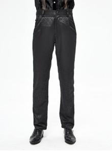 Basic Jacquard Diagonal Pocket Three-Dimensional Webbing Black Gothic Pants