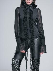 Black Chiffon Rose Bow Tie Irregular Flounces Long Sleeves Dovetail Hem Gothic Blouse
