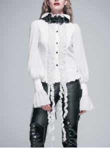 White Chiffon Rose Bow Tie Irregular Flounces Long Sleeves Dovetail Hem Gothic Blouse