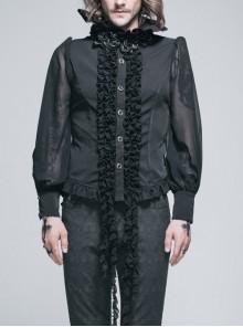 Black Chiffon Rose Bow Tie Irregular Flounces Long Sleeves Dovetail Hem Lace-Up Gothic Shirt