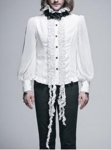 White Chiffon Rose Bow Tie Irregular Flounces Long Sleeves Dovetail Hem Lace-Up Gothic Shirt