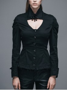 High Collar Chest Hollow Pendant Long Sleeves Pleated Button Black Gothic Blouse