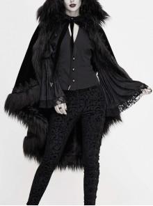 Lace Decorated Gothic Velvet Long Fur Warm Fleece Black Cloak