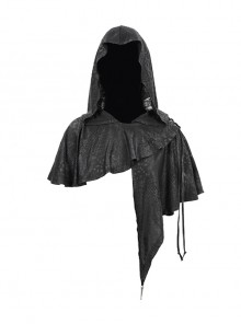 Black Gothic Retro Metal  Pendant Thin Knitted Hooded Small Shawl