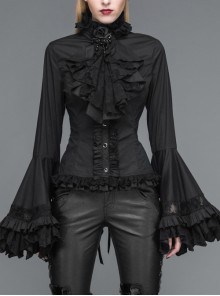 Big Flared Long Sleeves Chest Lace Frilly Back Lace-Up Black Gothic Blouse