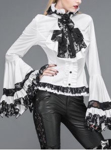 Big Flared Long Sleeves Black Chest Lace Frilly Back Lace-Up White Gothic Blouse