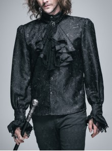 Paisley Jacquard Beads Chest Rose Mesh Lace Cuff Black Gothic Shirt