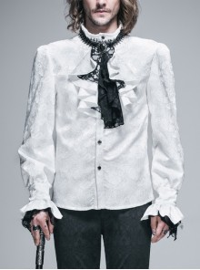 Paisley Jacquard Beads Chest Rose Mesh Lace Cuff White Gothic Shirt
