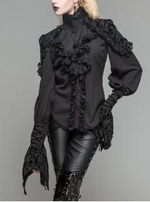 Chiffon Skull Pattern Flocking Chest Frilly Horn Cuff Black Gothic Blouse