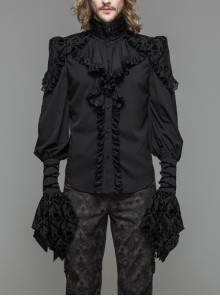 Black Chiffon Skull Pattern Flocking Chest Frilly Horn Cuff Lace-Up Gothic Shirt