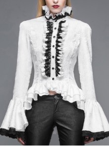 Jacquard Black Horn Cuff Lace Frilly Hem Back Lace-Up Pattern Buckle Gothic White Blouse