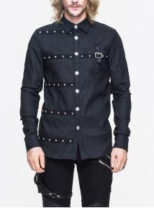 Black Asymmetrical Herringbone Braid Nail Long Sleeves Punk Shirt