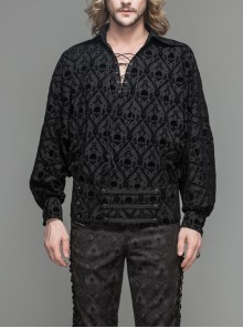 Lace-Up Collar 3D Braid Snap Button Oblique Placket Skull Printing Black Gothic Shirt